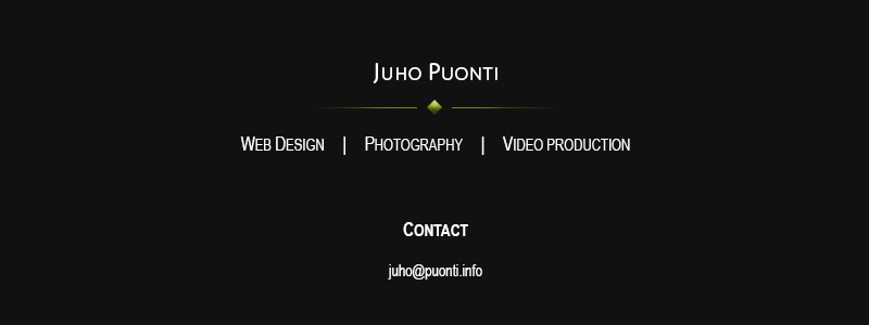 Juho Puonti - Web Design, Photography & Video production